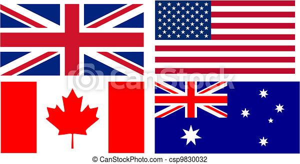 inglês bandeiras falando países países isolado ilustração