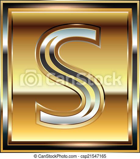 Ingot Font illustration Letter S - csp21547165