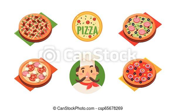 ingrédients, pizzeria, magasin, gai, vecteur, boulangerie, chef cuistot, gabarit, pizza entière, café, collection, différent, restaurant, conception, illustration - csp65678269