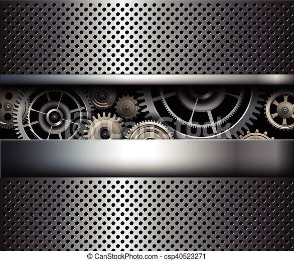 ingranaggi, fondo, metallico - csp40523271