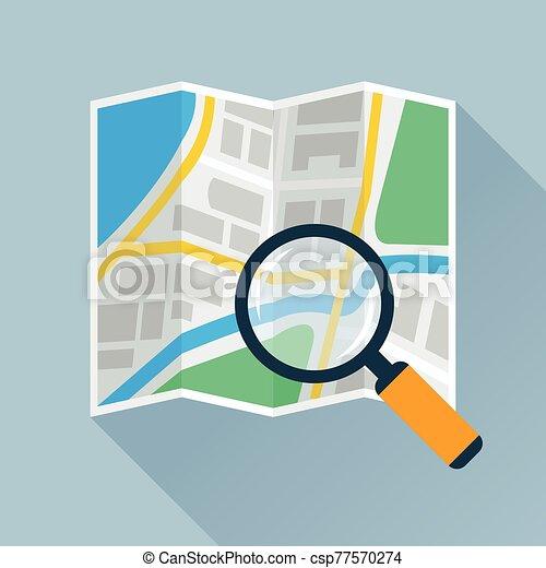 ingrandendo, piegatura, appartamento, vetro, mappa, sopra, icona - csp77570274