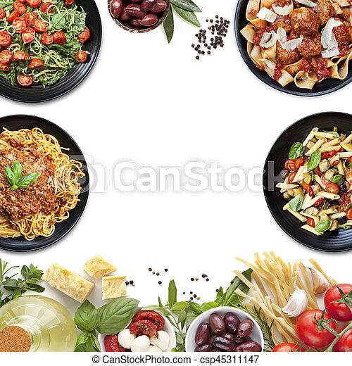 ingredientes, alimento, colagem, macarronada, refeições, italiano - csp45311147