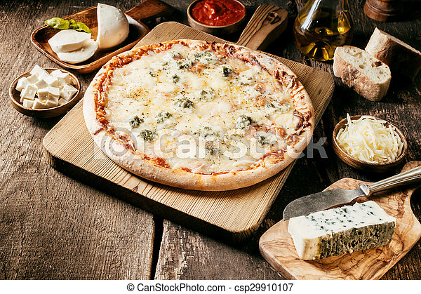 Ingredients for a 4 cheeses Italian pizza - csp29910107