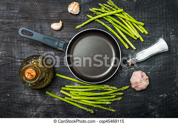 Ingredients for cooking asparagus - csp45469115