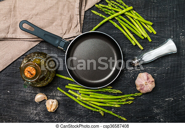 Ingredients for cooking asparagus - csp36587408