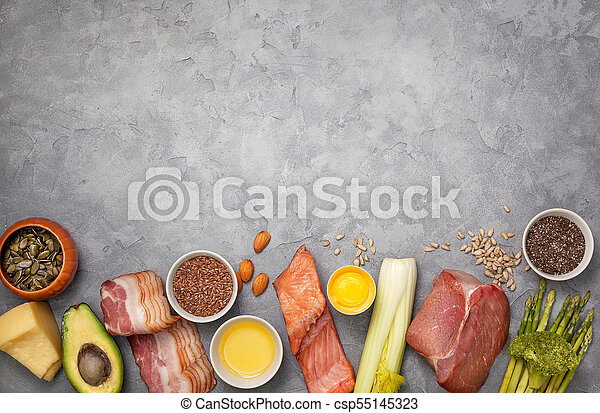 Ingredients For Ketogenic Diet Meat Bacon Fish Broccoli