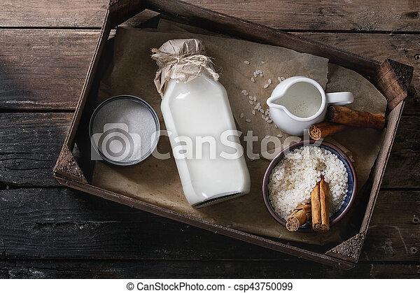 Ingredients for making rice pudding - csp43750099