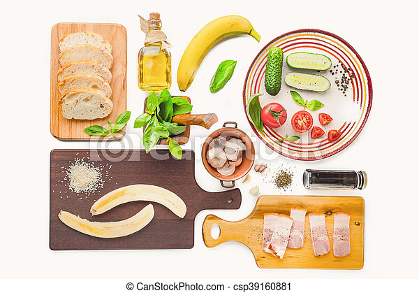 Ingredients for tartines on the white background - csp39160881
