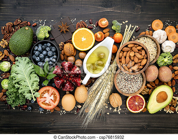 Ingredients For The Healthy Foods Selection The Concept Of Healthy Food Set Up On Wooden Background