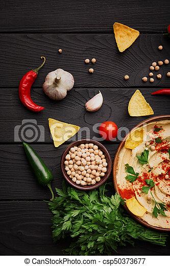ingredients., pimenta, topo madeira, verdes, hummus, preparação, hummus, experiência., lascas, concept., vista - csp50373677
