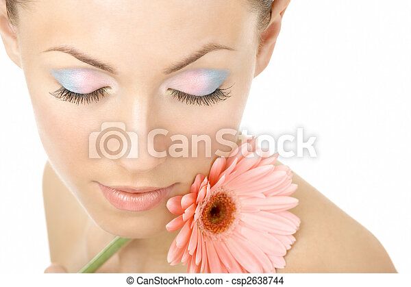 Inhaling flower aroma - csp2638744