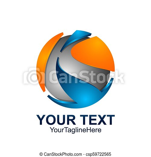 initial letter k logo template colored blue grey orange circle sphere design for business and company