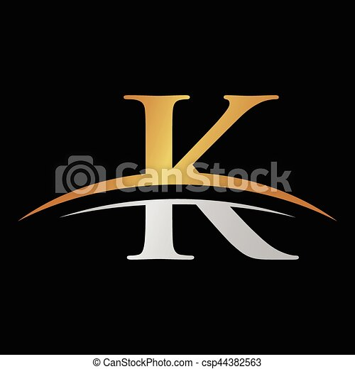 initial letter K logo with swoosh silver gold - csp44382563