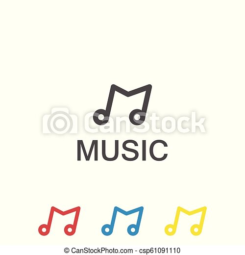 ec81b5fcce866 Initial letter m music logo template.