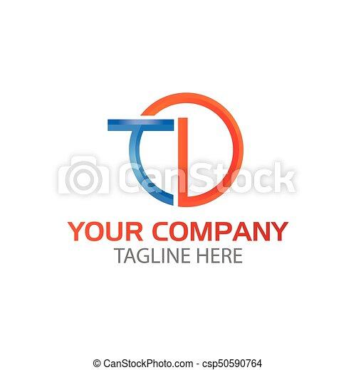 Initial Letter Td Linked Round Logo Blue Orange