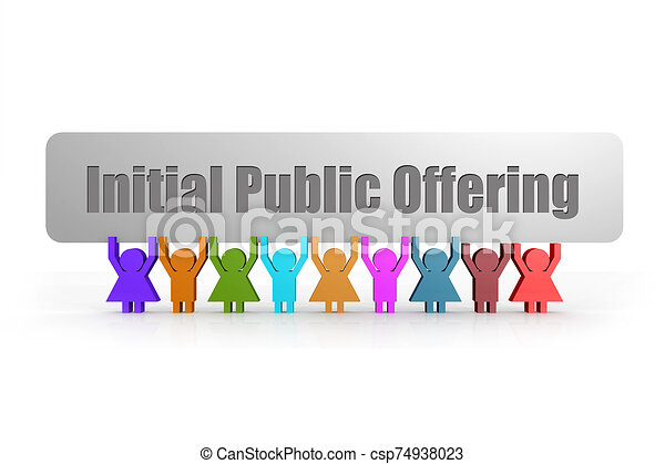 Initial Public Offering word on a banner hold by group of puppets - csp74938023