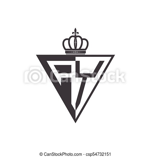 initial two letter half logo triangle black csp54732151
