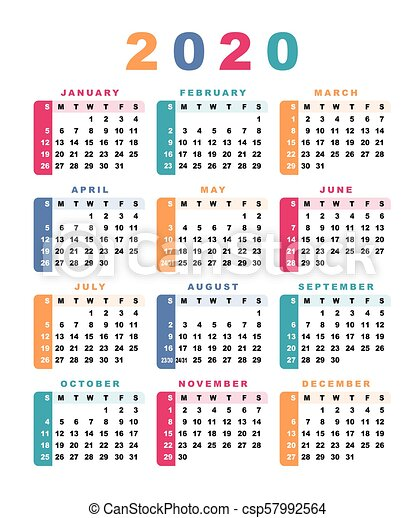 Crea Calendario 2020 Con Foto.Inizi Calendario 2020 Week Sunday