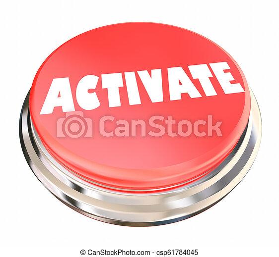 iniziare, attivare, attivazione, illustrazione, pulsante avvio, 3d - csp61784045