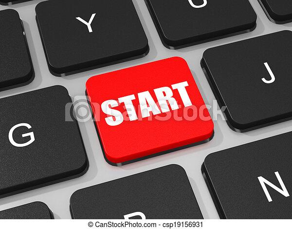 inizio, chiave computer portatile, computer., tastiera - csp19156931