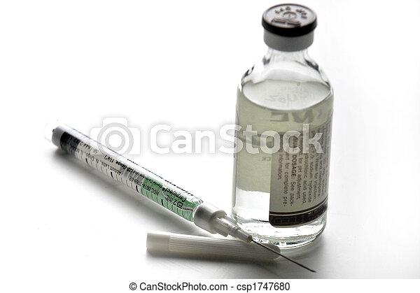 injection, aiguille, fluide, bouteille - csp1747680
