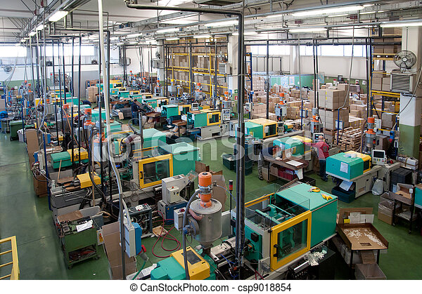 Injection molding machines in a large factory - csp9018854