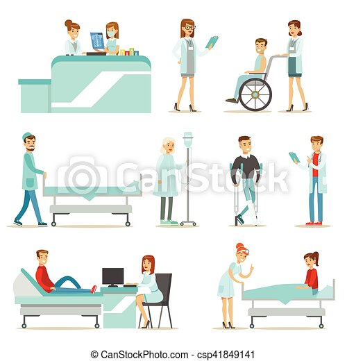 Injured And Sick Patients In The Hospital Receiving Medical Treatment From Professional Doctors And Nurses - csp41849141