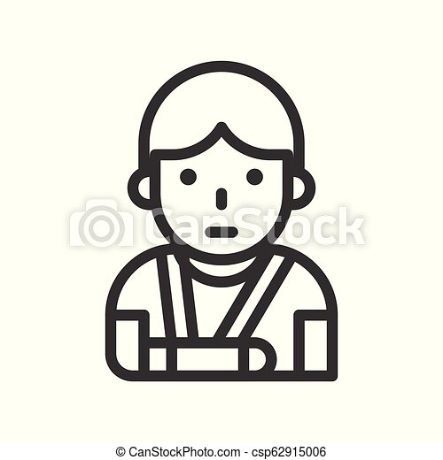 injured patient with broken arm and arm sling outline icon - csp62915006