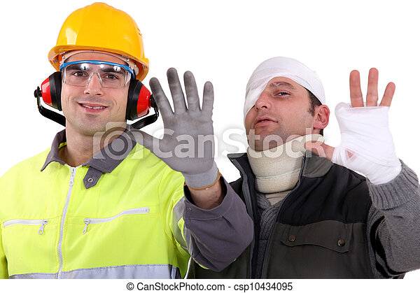 Injured tradesman comparing his hand to a healthy colleague - csp10434095