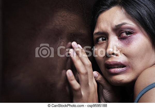 Injured woman terrified - csp9595188