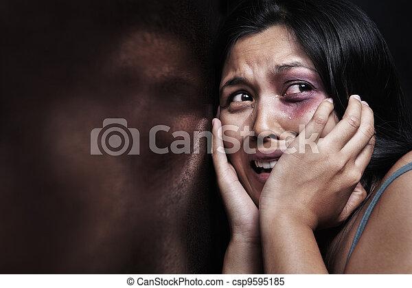 Injured woman terrified - csp9595185