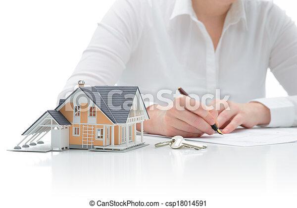 inköp, överenskommelse, hus - csp18014591