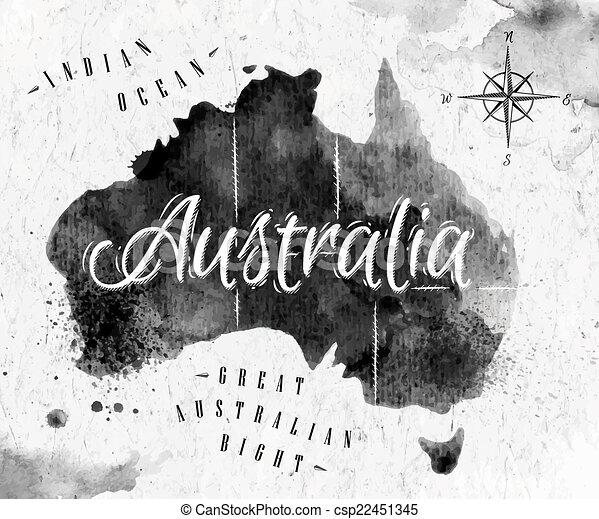 Australia Map Black And White.Ink Australia Map