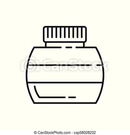 Ink Bottle Thin Line Icon Illustration Design - csp58028232