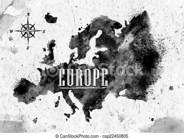 Ink europe map in vector format black and white graphics in