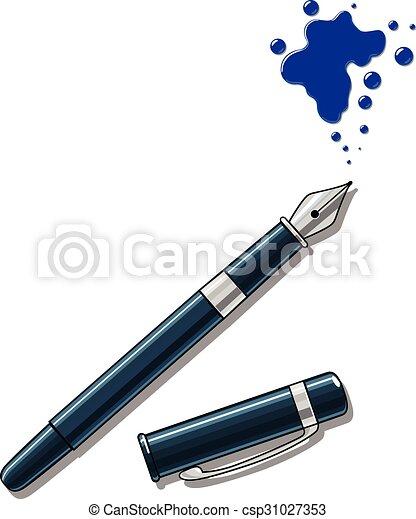 Ink pen and blot vector illustration - csp31027353