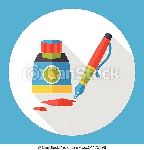 ink pen flat icon - csp34175398