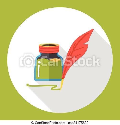 ink pen flat icon - csp34175630