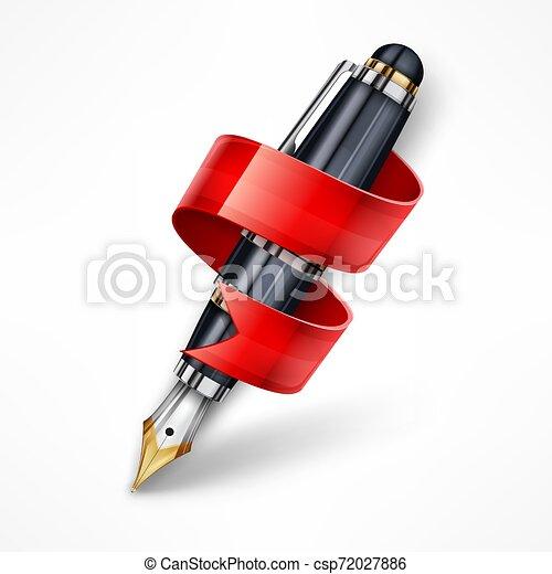 Ink pen ribbon. Vector illustration. - csp72027886