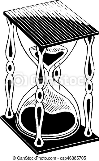 Ink Sketch of an Hourglass - csp46385705