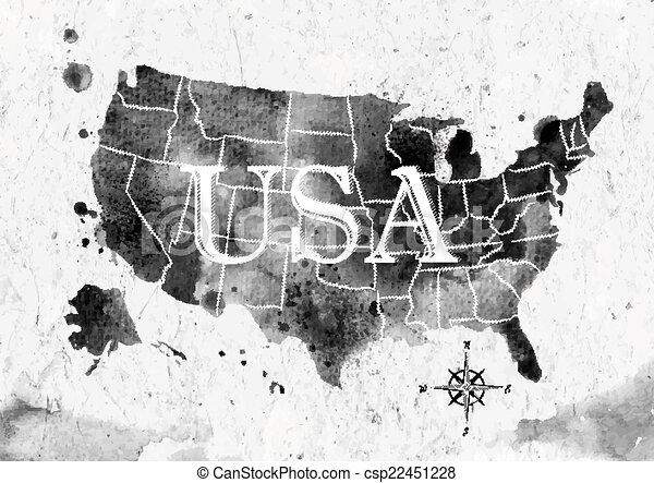 Ink United States map on united states map poster, united states map color, united states map 1860,