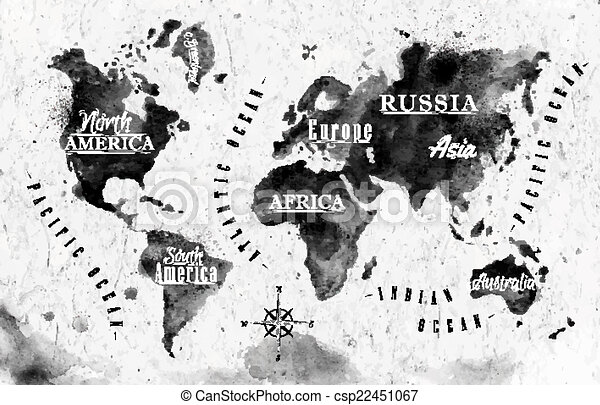 Ink World Map In Vector Format Black And White Graphics In Vintage
