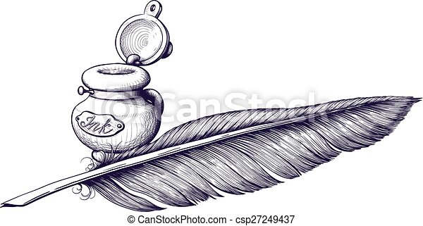 Line Art Feather : Inkwell and quill pen lying next vectors search clip art