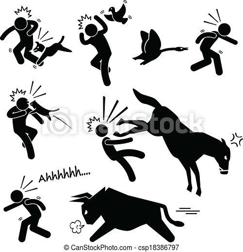 Häusliches Tier greift Menschen an - csp18386797