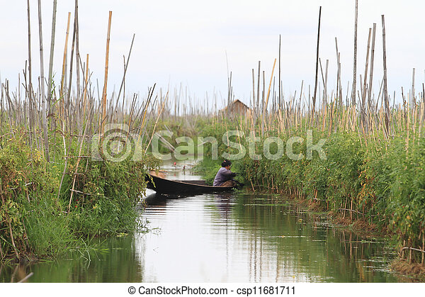 Inle Lake is a freshwater lake located in the Shan Hills in Myanmar (Burma). - csp11681711