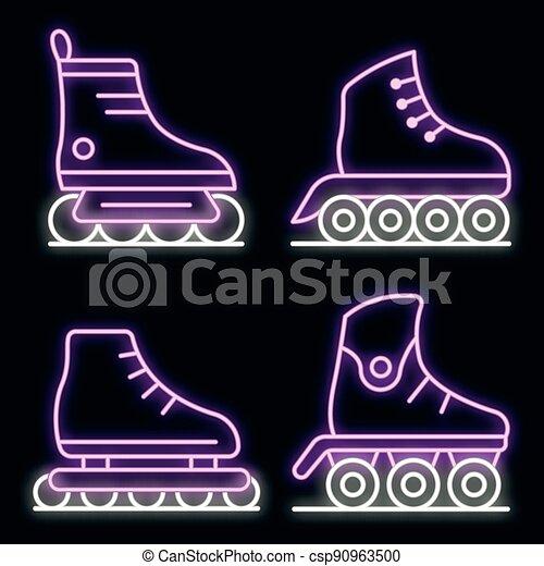 Inline skates icons set vector neon - csp90963500