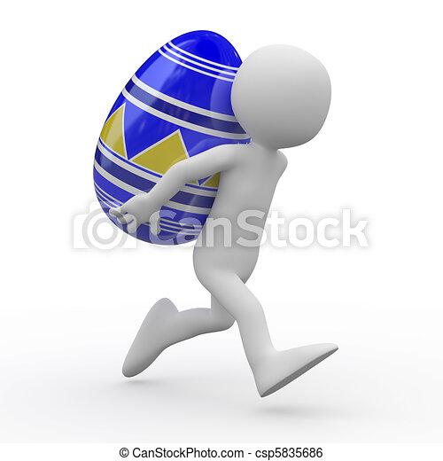 Un hombre corriendo con un enorme huevo de Pascua - csp5835686