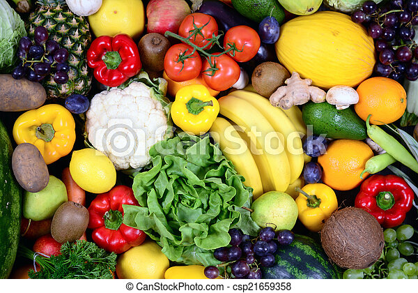 Un gran grupo de vegetales frescos y frutas, estudios de alta calidad - csp21659358