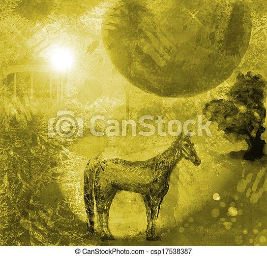 inmenso, moon.1, noche, caballo - csp17538387