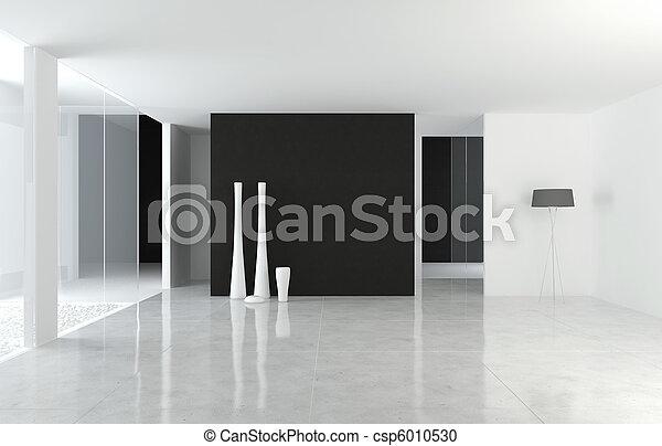 innenarchitektur, modern, b&w, raum - csp6010530